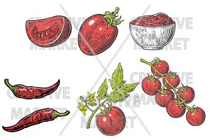Set Tomato, half, slice, bunch
