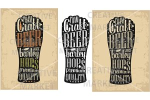 Typography poster. Beer glass
