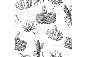 Seamless pattern farm  corn cob leaf