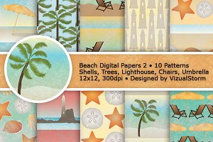 Beach Digital Paper Patterns