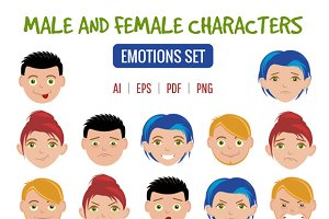 Cartoon People Emotion Set