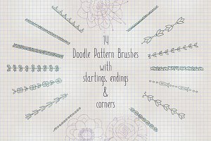 Doodle pattern Illustrator brushes