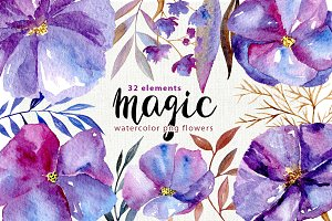 Watercolor violet flowers, 32 png