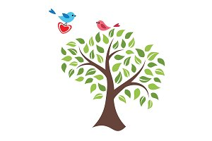 Stylized tree and birds in love