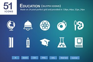51 Education Glyph Icons