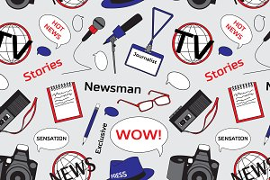 Pattern with journalism icons