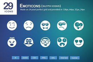 29 Emoticons Glyph Icons