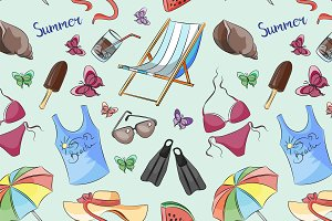 Pattern of summer symbols