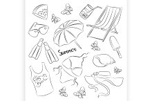 Collection of summer symbols
