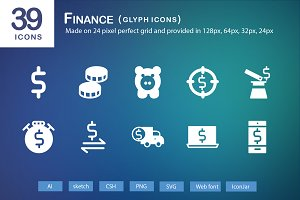 39 Finance Glyph Icons