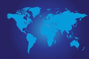 World map flat blue