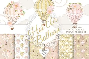 Watercolor Hot Air balloon pack