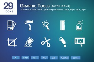 29 Graphic Tools Glyph Icons