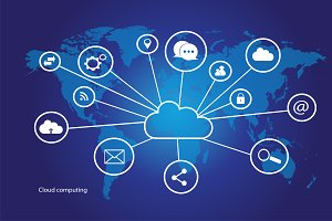 Cloud computing world map 3 variante