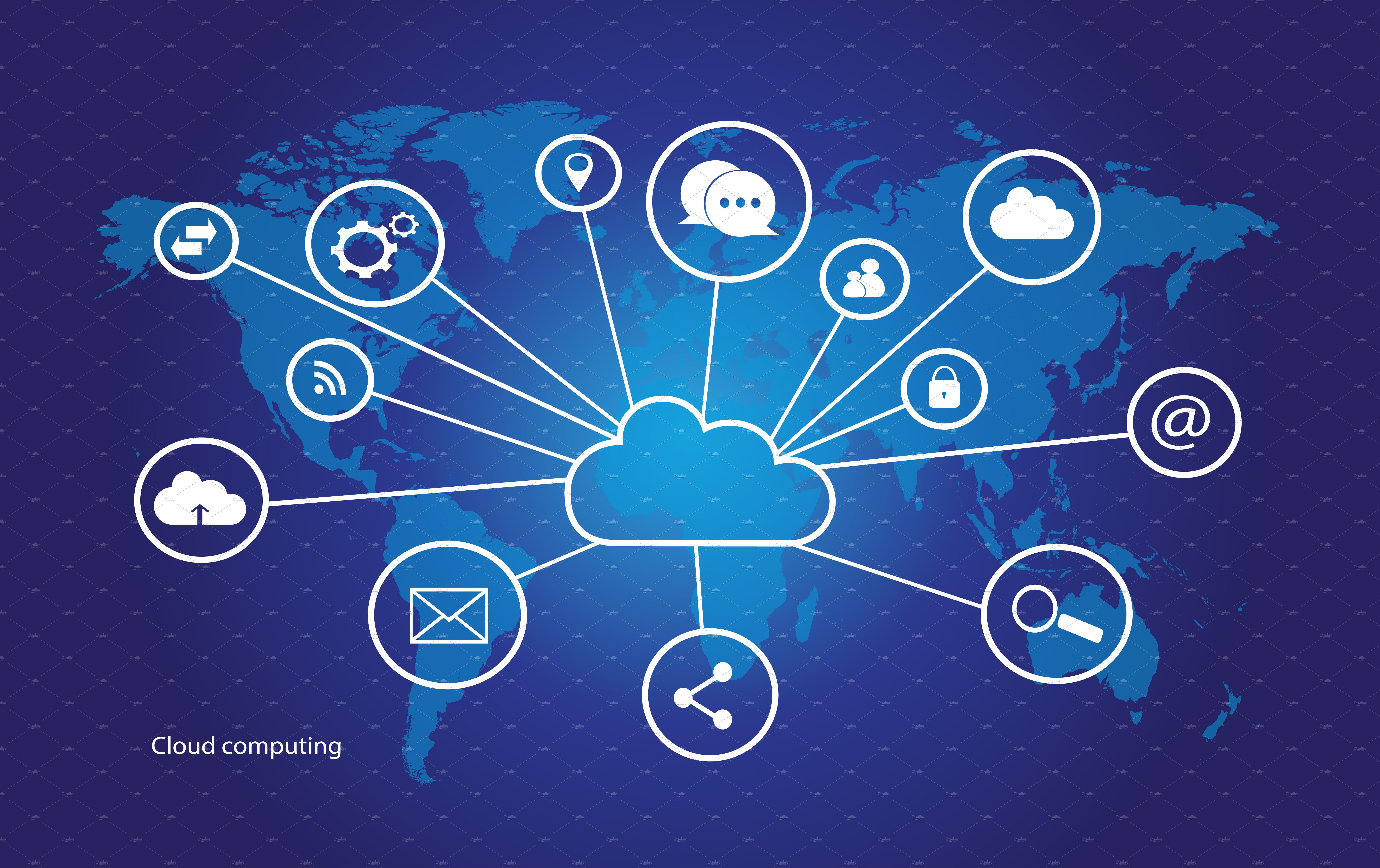 Cloud computing world map 3 variante icons creative market gumiabroncs Images