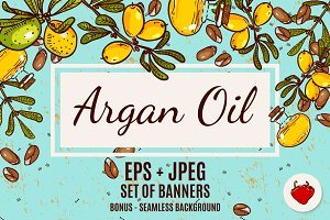 Set of banners with argan