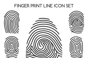 Fingerprint line icons