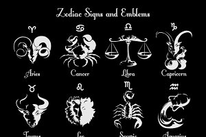 Zodiac symbols and signs