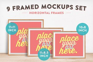 9 Horizontal Framed Mockups Set