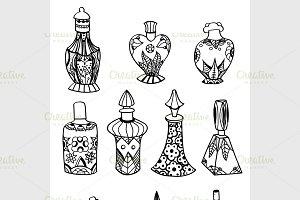 isolated perfume bottles