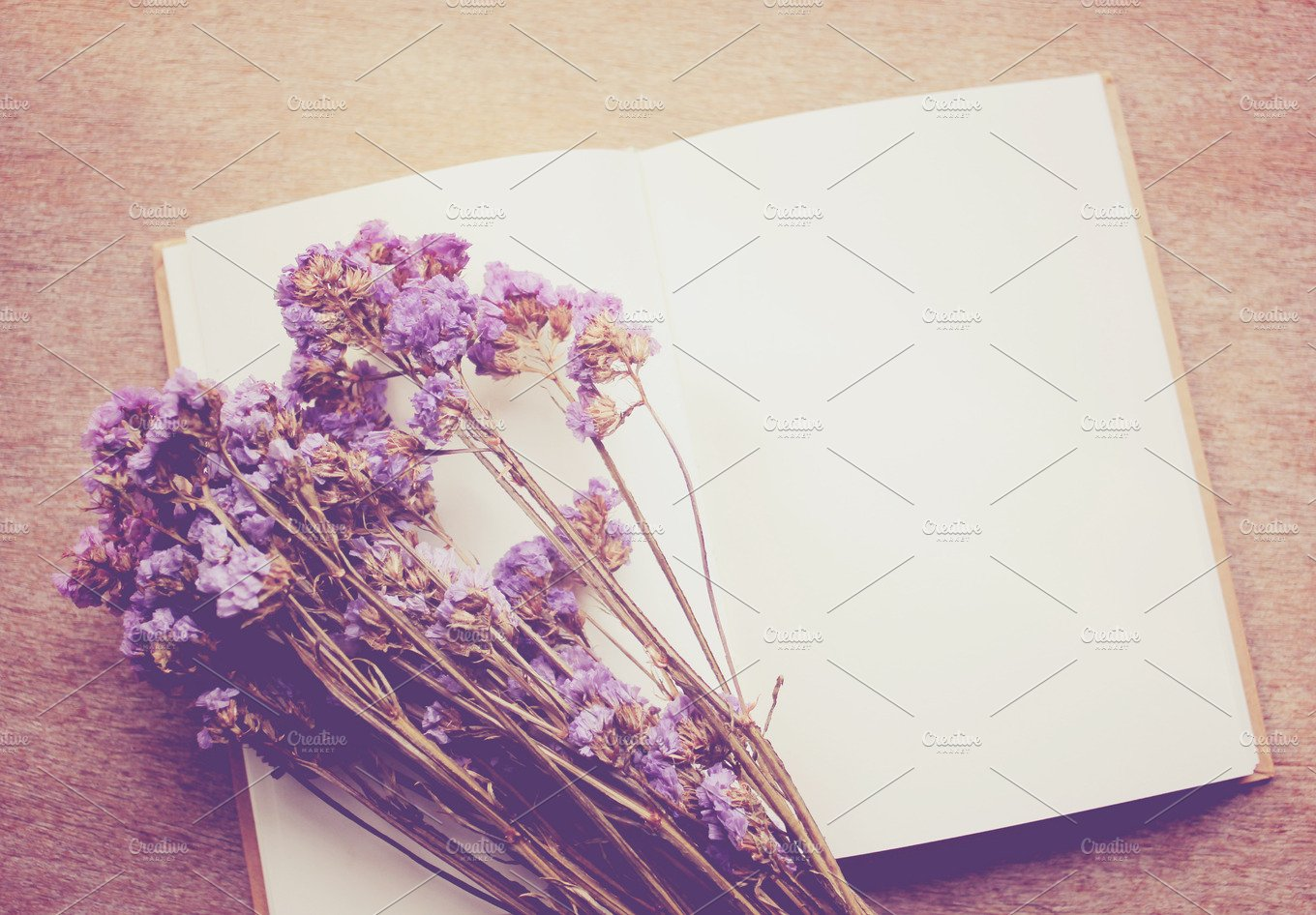 Blank Notebook And Dried Flower Arts Entertainment Photos