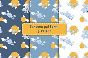 Seamless patterns with cartoon plane