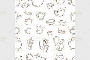 pattern of tea and coffee objects