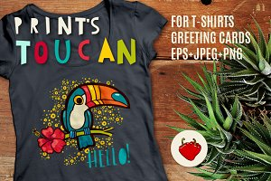 Tropical toucan prints on a t-shirt.