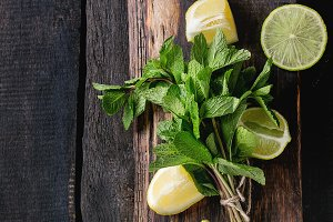 Lime and lemons with mint