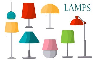 Lamps furniture set vector