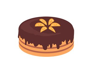 Cake Chocolate Isolated Design Flat
