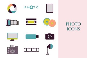 Photography vintage retro icons