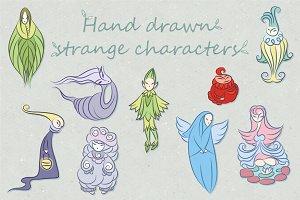 Vector strange fantasy characters