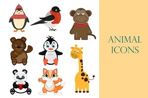 Vector zoo cute animal set