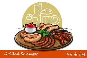 Grilled Sausages with Tomato Sauce