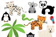 Zoo Jungle Animals Clipart & Vectors