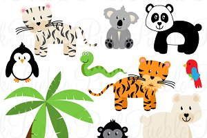 Zoo Jungle Animals Clipart & Vectors