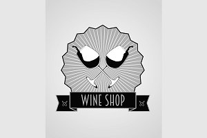 Wine shop logo with two glasses.