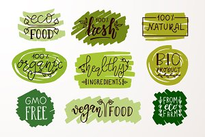 Hand Drawn Natural Food Badges&Icons