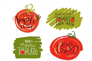Hand Sketched Tomato Labels & Badges