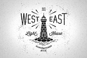 Vintage Label Lighthouse