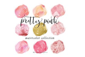 pink watercolor circle dots clipart