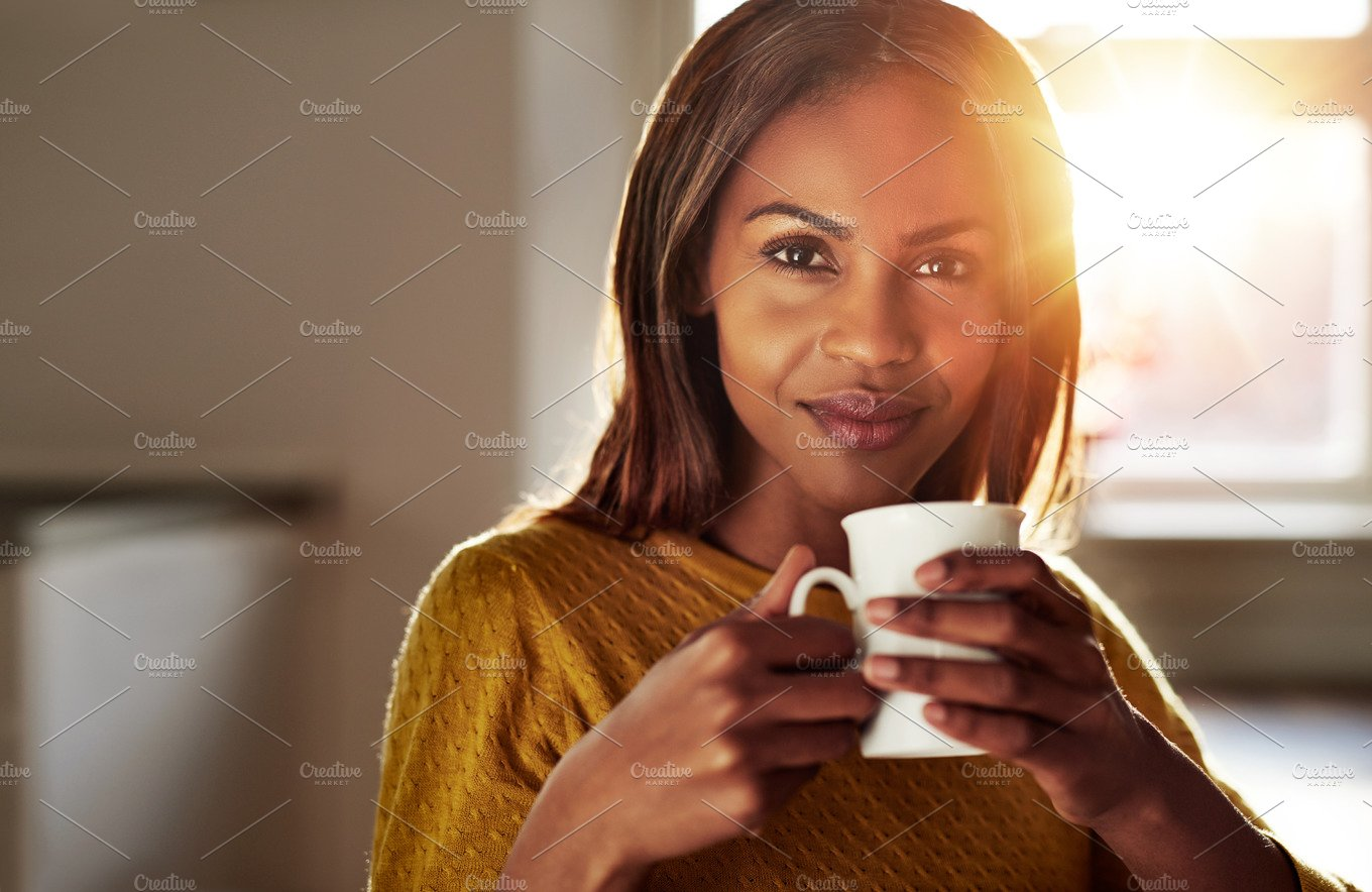 Smiling Friendly Young Black Woman Drinking Coffee -3335