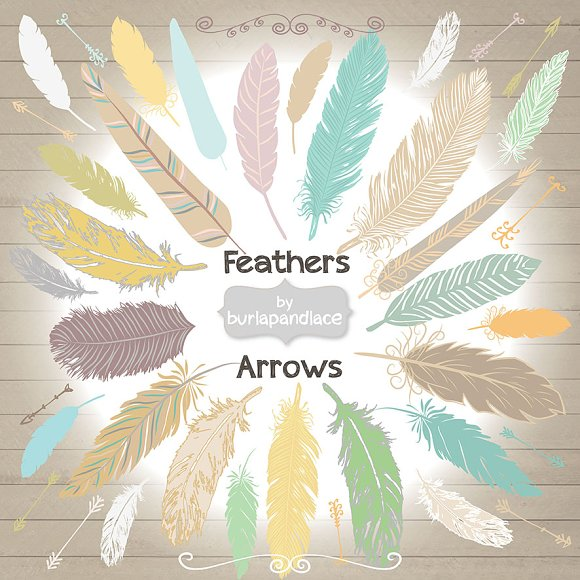 Hand Drawn clipart feathers arrows - Illustrations