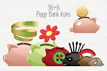 Vector Piggy Bank icons set