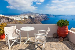 Panorama view on Santorini island.