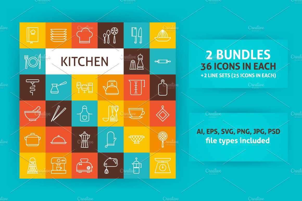 Kitchen & Cooking Line Art Icons ~ Icons ~ Creative Market