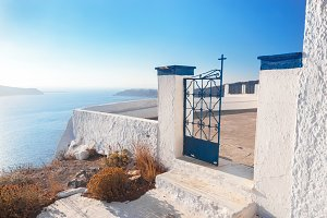 Gate to a church, Fira, Santorini.