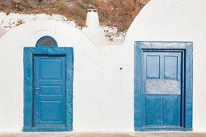 Old blue doors, Oia town, Santorini.