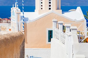 Church with blue dome on Santorini.